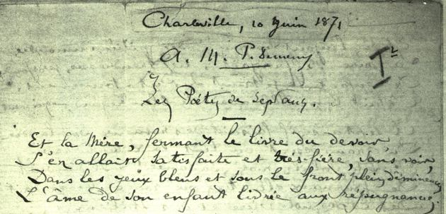 the top of Rimbaud's original manuscript